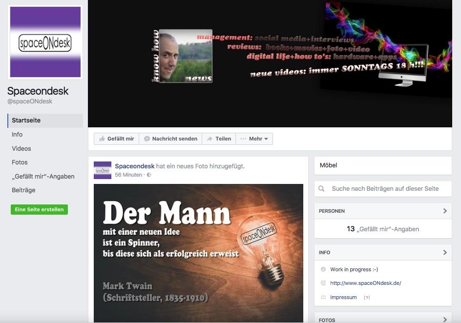Der Social Media-Auftritt von spaceONdesk bei Facebook